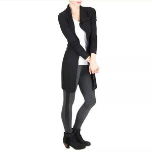 NWT David Lerner L Tuxedo Legging Charcoal Black